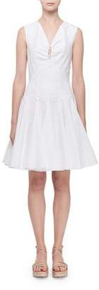 Alaia Sleeveless Keyhole Gored Fluted Dress