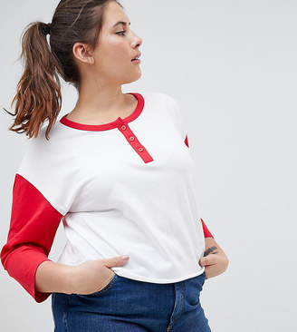 Asos DESIGN Curve t-shirt with contrast sleeve and button placket