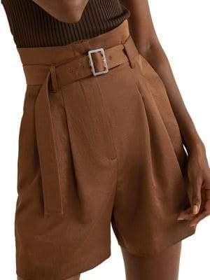 MANGO High-Waist Paper Bag Shorts