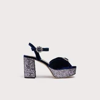 LK Bennett Eline Navy Velvet Sandals