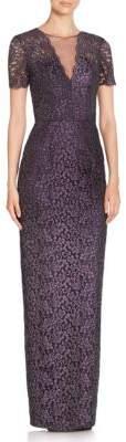 Theia Lace-Work Column Dress