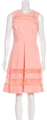 Lela Rose Woven Fray-Trimmed Dress Pink Woven Fray-Trimmed Dress