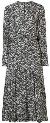 Calvin Klein Ruched Floral-print Silk-shell Midi Dress