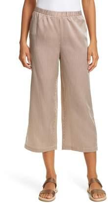 Eileen Fisher Stripe Straight Wide Leg Silk & Cotton Crop Pants