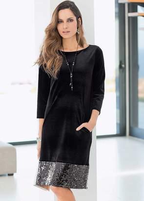 Together Velvet Sequin Hem Dress