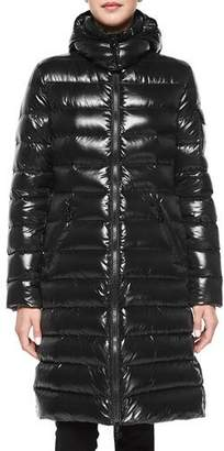 ad4d4c65baf Moncler Moka Shiny Fitted Puffer Coat with Hood