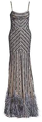 Gustavo Cadile Women's Beaded Feather Hem Gown