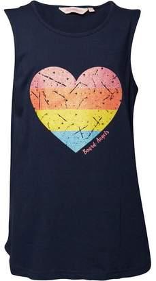 Board Angels Girls Swing Vest Top With Heart Print Navy