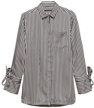 Banana Republic Petite Parker Tunic-Fit Stripe Tie-Cuff Shirt