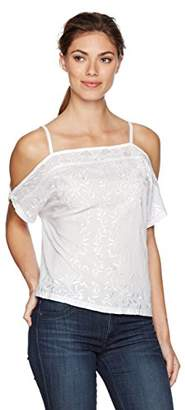 Lucky Brand Women's Short Embroidered Cold Off The Shoulder Top