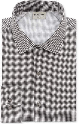 Kenneth Cole Reaction Men's Slim-Fit Techni-Cole Flex Collar Performance Black Print Dress Shirt