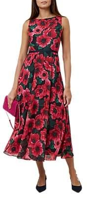 Hobbs Carly Midi Dress, Raspberry/Multi