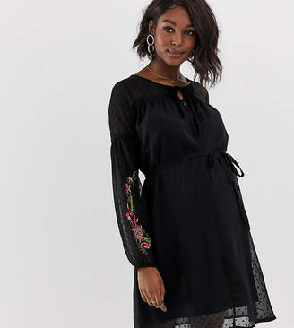 Mama Licious Mama.Licious Mamalicious embroidered dobby spot dress