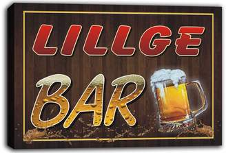 AdvPro Canvas scw3-104535 LILLGE Name Home Bar Pub Beer Mugs Cheers Stretched Canvas Print Sign