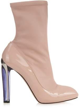 Alexander McQueen Perspex heel leather ankle boots