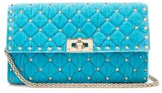 Valentino - Rockstud Spike Quilted Velvet Clutch - Womens - Light Blue