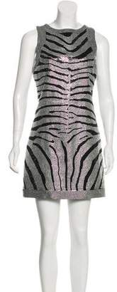Balmain Rhinestone Embellished Animal Print Mini Dress