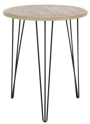 DecMode Decmode 22 X 18 Inch Modern Wood and Metal Round Accent Table, Brown