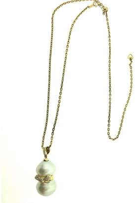 18K Yellow Gold with Double Pearls & Diamond Bow Pendant Necklace