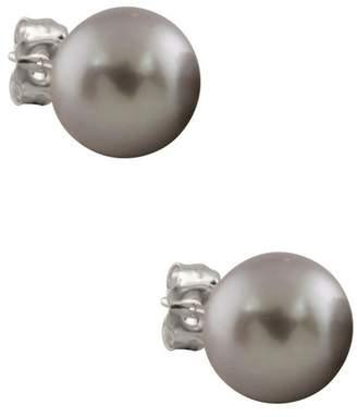 Splendid Pearls 14K White Gold Genuine Dyed Gray Akoya 7-7.5mm Pearl Stud Earrings