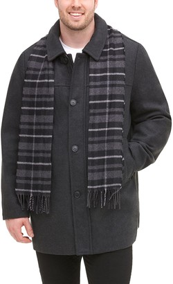 Dockers Big & Tall Wool-Blend Car Coat with Plaid Scarf