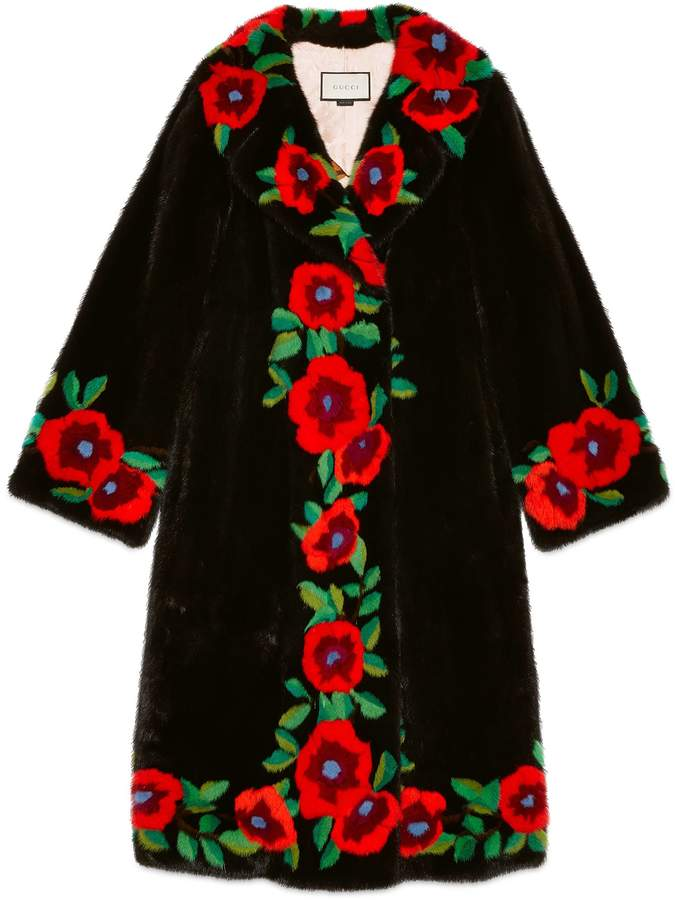 Flower intarsia mink fur coat