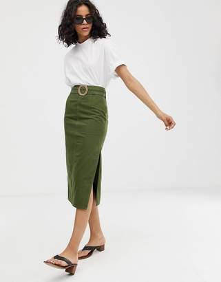 905a585628b9 Asos Design DESIGN denim belted midi skirt in khaki green