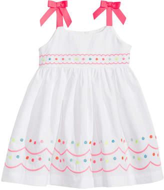 Blueberi Boulevard Embroidered Cotton Sundress, Baby Girls