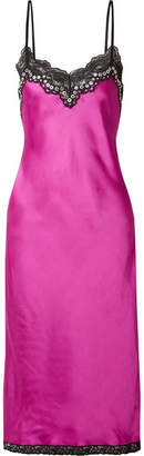 Alexander Wang Embellished Lace-trimmed Satin Midi Dress - Magenta