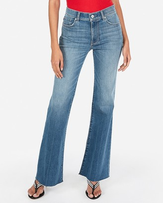 Express High Waisted Raw Hem Flare Stretch Jeans