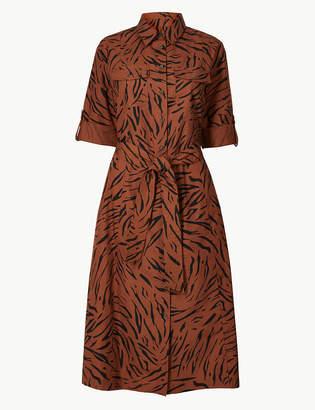 Marks and Spencer Pure Cotton Animal Print Shirt Dress