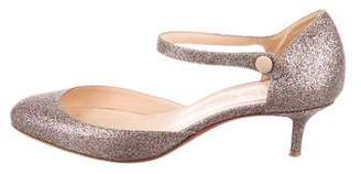 Christian Louboutin Glitter Ankle-Strap Pumps