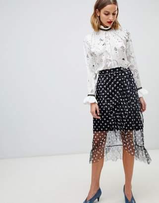 Pieces midi polka dot skirt