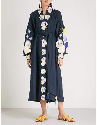 Yuliya Magdych Pansies off-the-shoulder cotton and silk-blend dress
