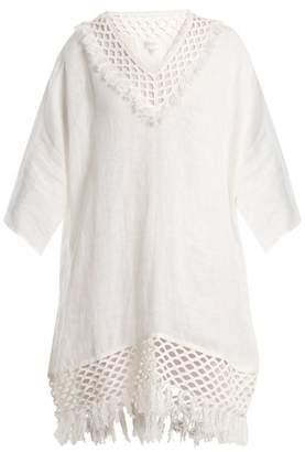 Biondi - V Neck Dolman Sleeve Linen Kaftan - Womens - White
