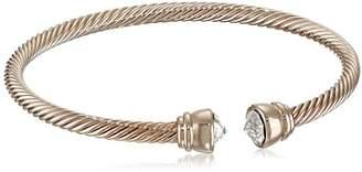 Swarovski Oroclone 14k Plated Flex Bangle with Clear Arrowhead Stone Bracelet