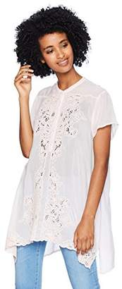 Johnny Was Women's Mandarin Collar Embroidered Blouse Uneven Hem
