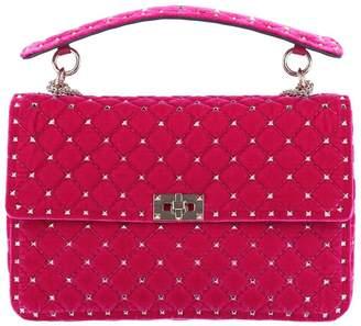 Valentino GARAVANI Handbag Rockstud Spike Bag In Velvet With Shoulder Strap And Removable Handle