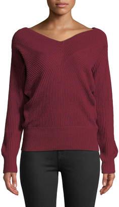 Club Monaco Jemma Ribbed V-Neck Pullover Sweater