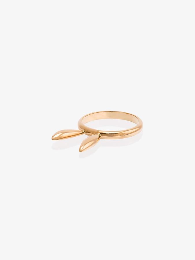 18k rose gold bunny ears ring