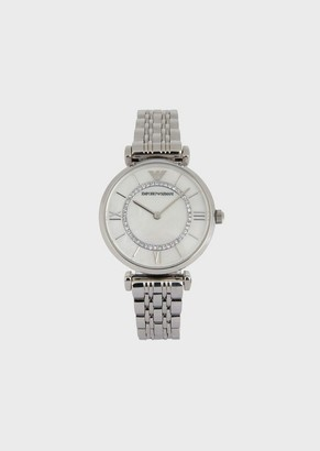 Emporio Armani Stainless Steel Watch With Decorative Crystals And Link Strap