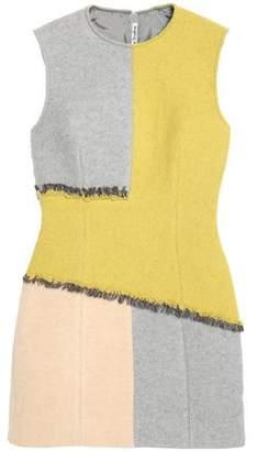 Acne Studios Twill-Paneled Frayed Boiled Wool-Blend Mini Dress