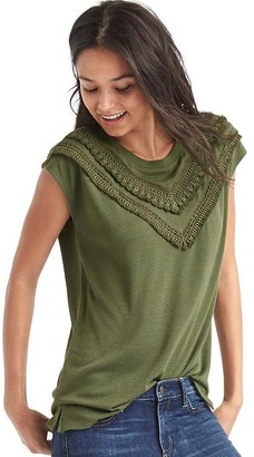 Softspun knit crochet fringe top $39.95 thestylecure.com