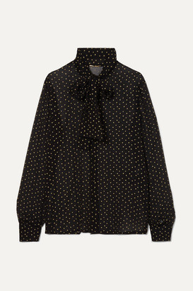 99302bcc43a629 Saint Laurent Pussy-bow Metallic Fil Coupé Silk-crepon Blouse - Black