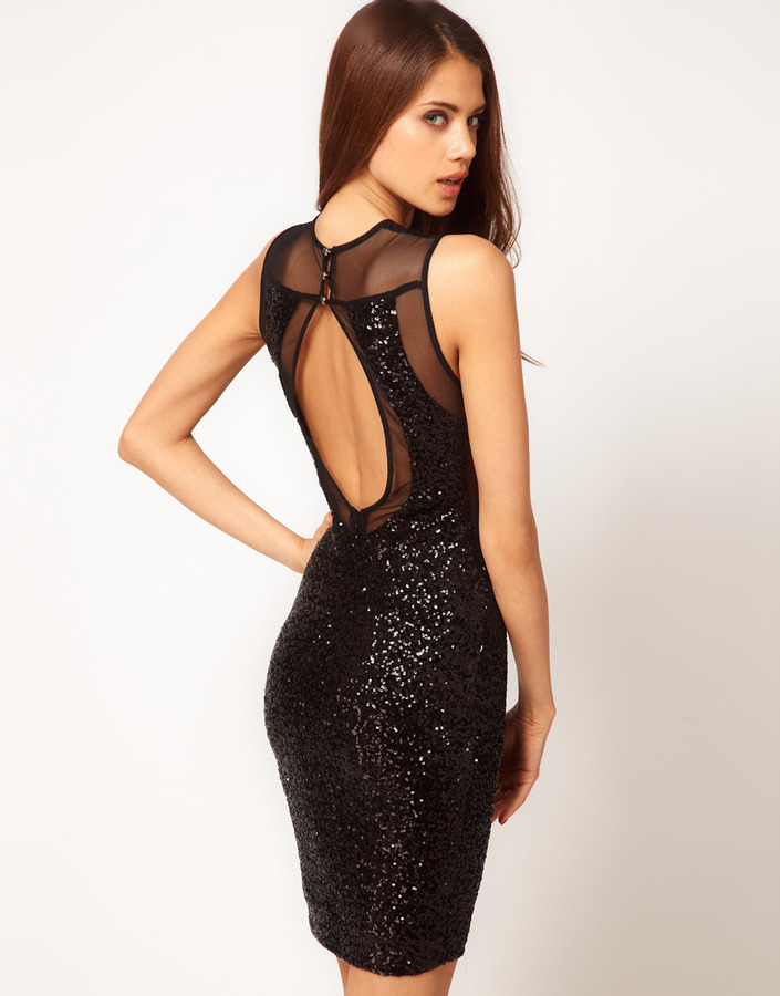 TFNC Sequin & Mesh Dress with Open Back