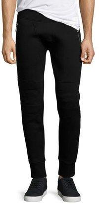 Neil Barrett Neoprene Moto Jogger Pants, Black $595 thestylecure.com