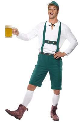 Smiffys Men's Oktoberfest Costume Lederhosen Shorts with Braces Top and Hat