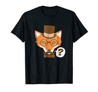 Hipster Fox with Mustache & Bow Tie Graphic T-Shirt (Dark)