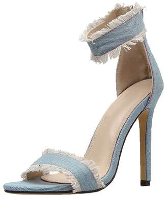 Goodnight Macaroon 'Della' Denim High Heeled Ankle Strap Sandals