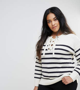 Brave Soul Plus Agatha Lace Up Jumper In Stripe